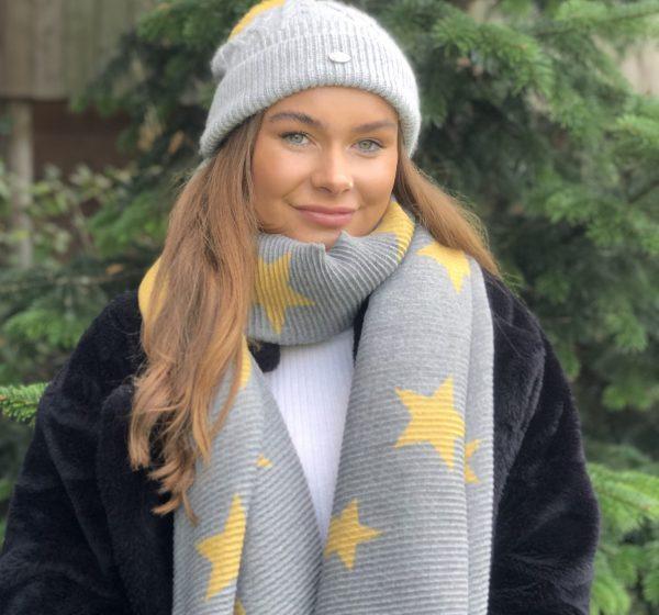 Grey Aran Knitted Hat With Faux Fur Mustard Pom Pom