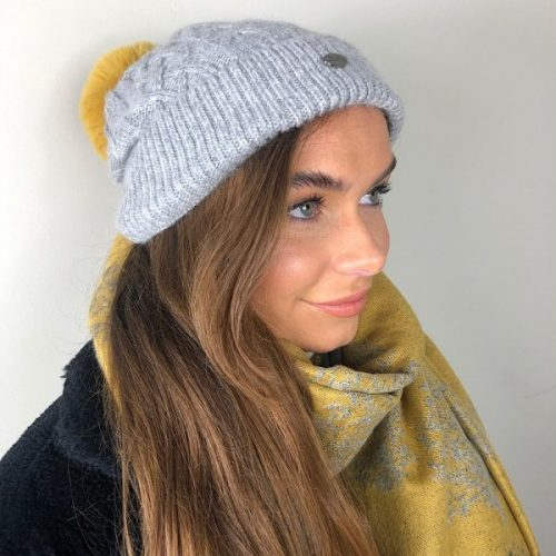 Grey Aran Knitted Hat With Faux Fur Mustard Pom Pom