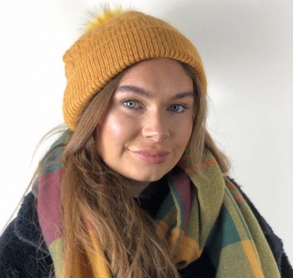 Mustard Fleece Lined Bobble Hat with Mustard Faux Fur Pompom