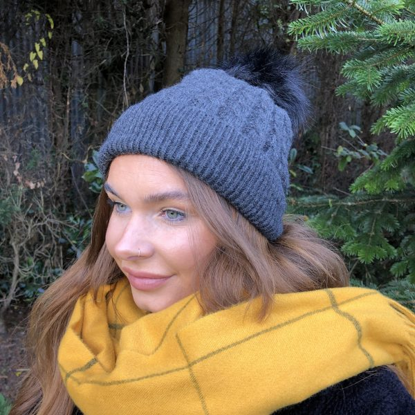 Charcoal Black Fleece Lined Bobble Hat with Black Faux Fur Pompom