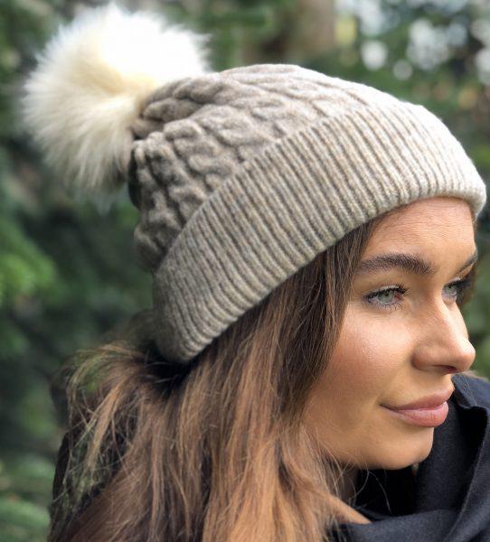 Beige Fleece Lined Bobble Hat with White Faux Fur Pompom