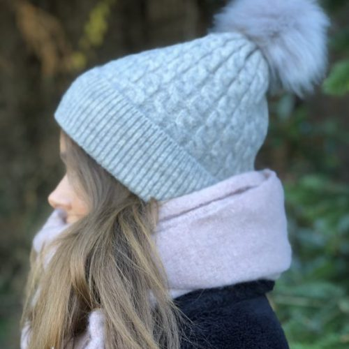 Grey Fleece Lined Bobble Hat with Grey Faux Fur Pompom