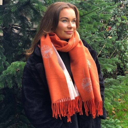 Orange Dandelion Reversible Cashmere Blend Luxury Scarf or Wrap