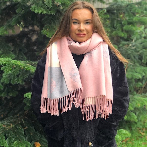 Pink and Grey reversible dandelion scarf