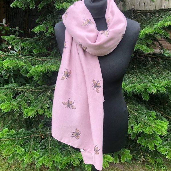 pink winter weight glitter bee scarf