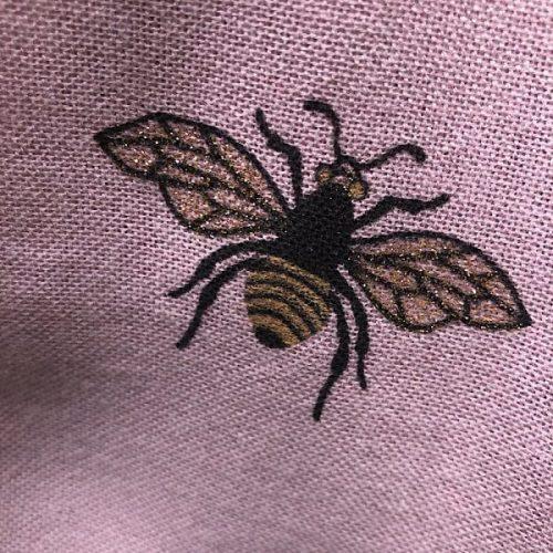 Pink Transeasonal Weight Glitter Bumble Bee Scarf