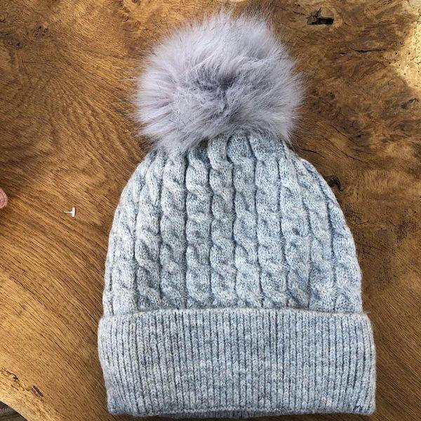 Grey Fleece Lined Bobble Hat with Grey Faux Fur Pompom