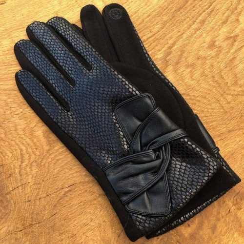 Black Luxury Faux Snakeskin Gloves