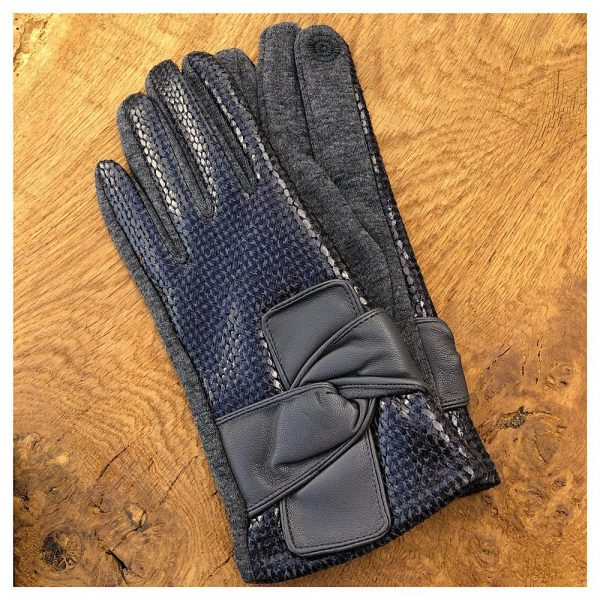 Grey Luxury faux snakeskin gloves
