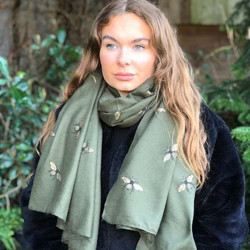 Dark Green Transeasonal Weight Glitter Bumble Bee Scarf