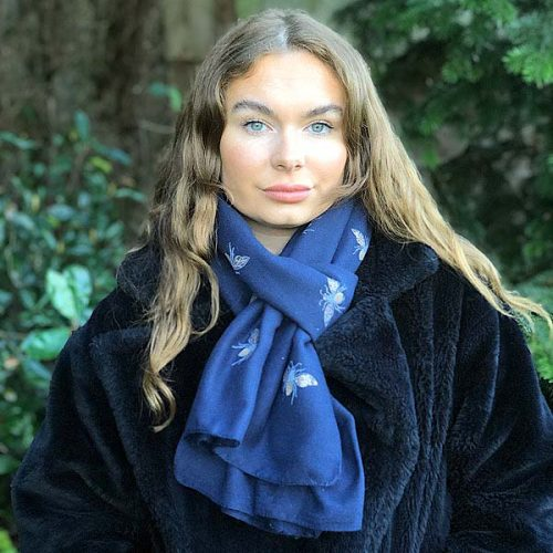 Navy Transeasonal Weight Glitter Bumble Bee Scarf