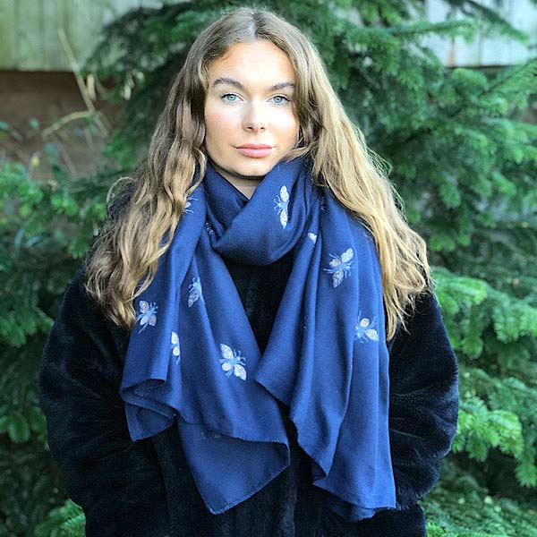 navy bee scarf