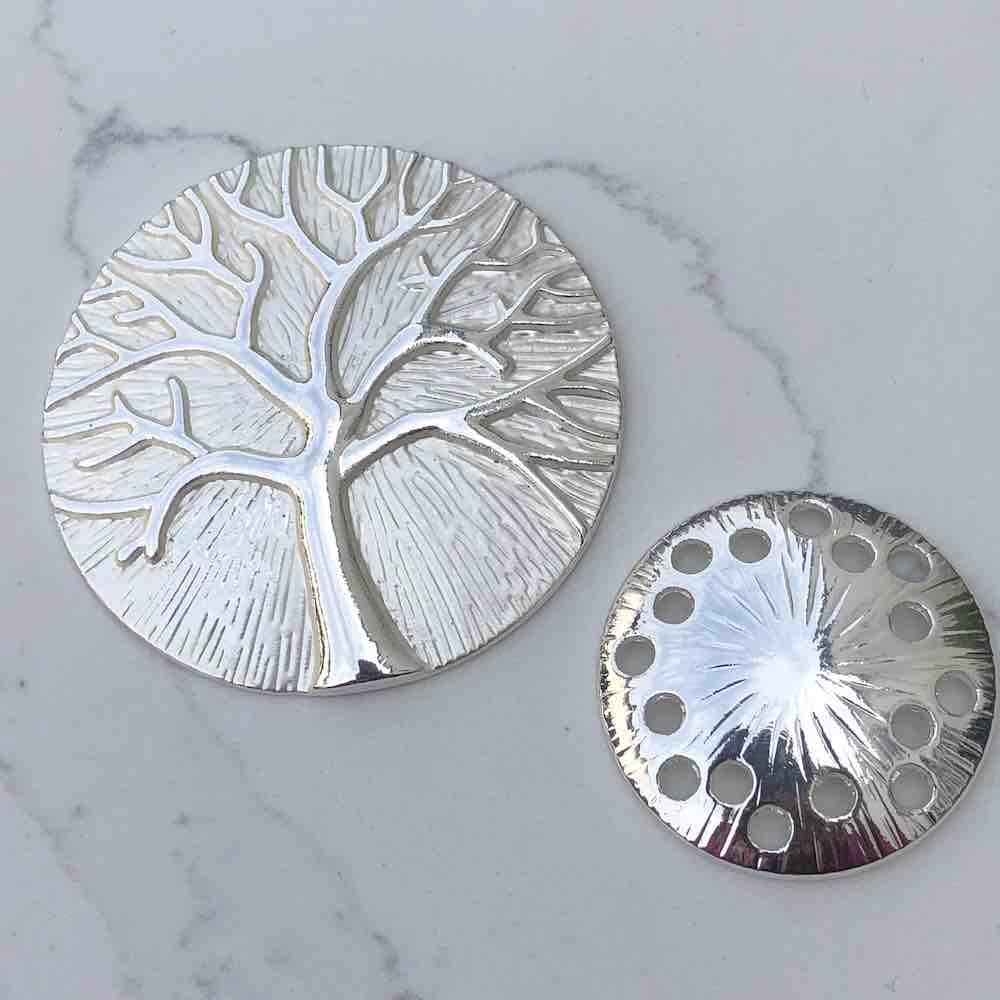Silver magnetic tree of life brooch