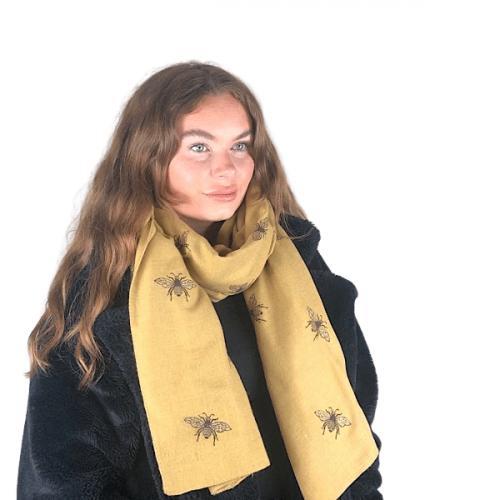 Mustard Transeasonal Glitter Bumble Bee Scarf
