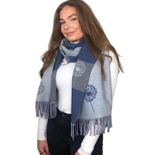 Grey and Blue Dandelion Reversible Cashmere Blend Luxury Scarf or Wrap