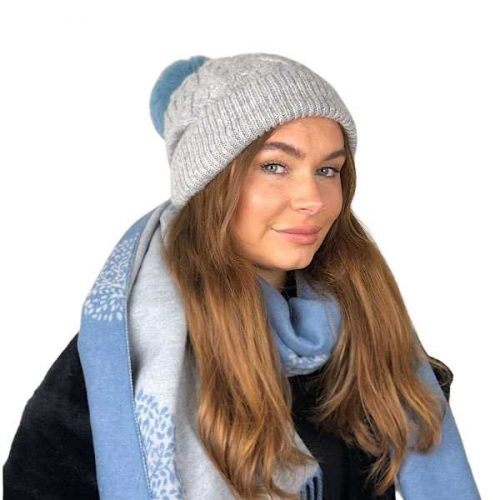 Grey Aran Knitted Bobble Hat With Baby Blue Faux Fur Pom Pom