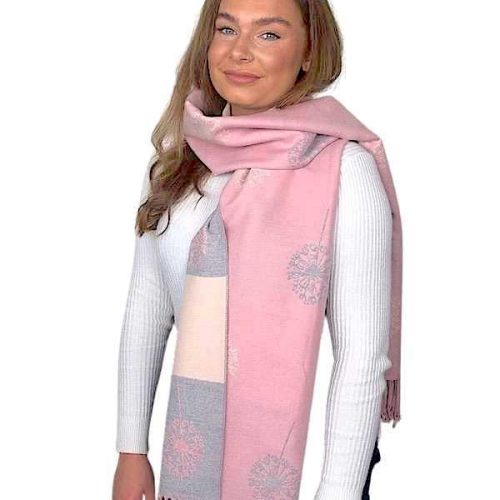 Pink and Grey Cashmere Blend Dandelion Luxury Wrap or Scarf