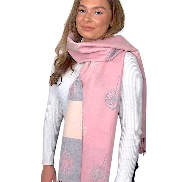 pink and grey dandelion cashmere scarf