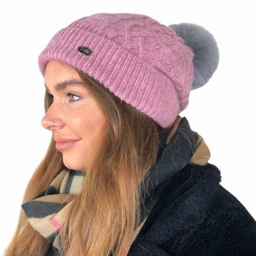 Pink Aran Knitted Bobble Hat With Grey Faux Fur Pom Pom