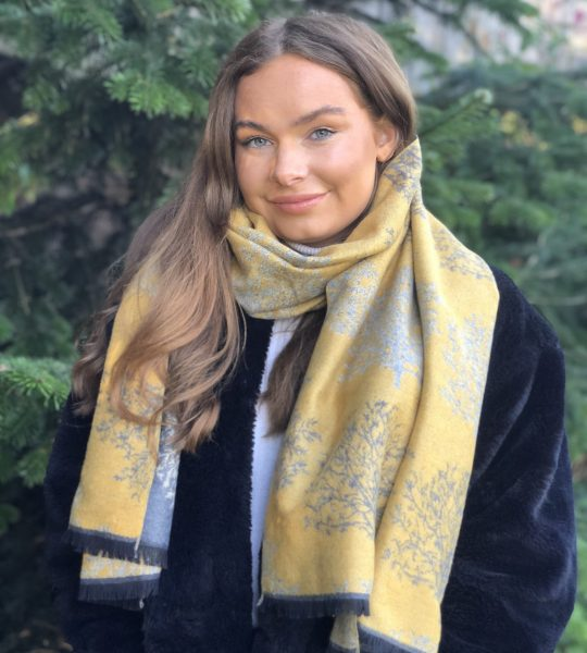 mustard side of winter trees scarf