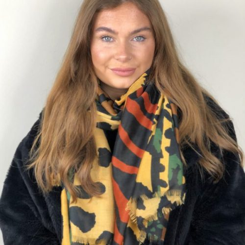 Mustard and Rust Quirky Animal Print Scarf