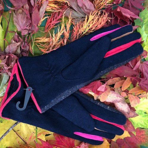 Navy Stylish Tweed Button Gloves