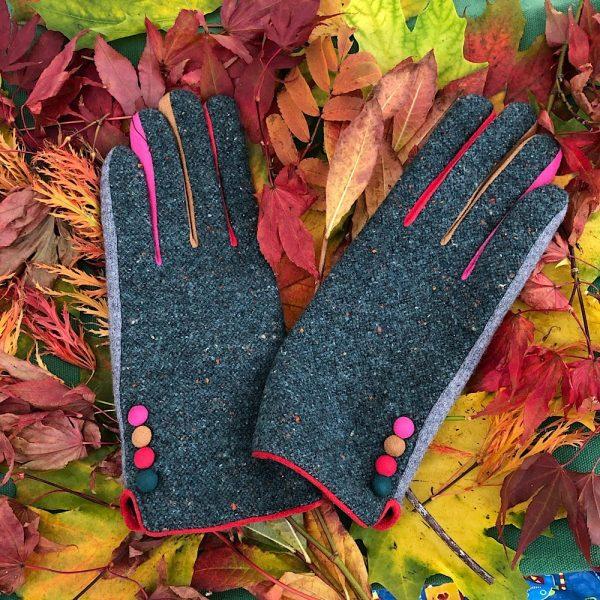 Teal tweed Gloves