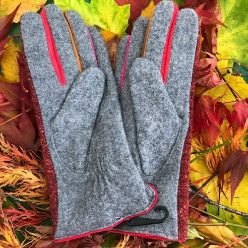Red Stylish Tweed Button Gloves