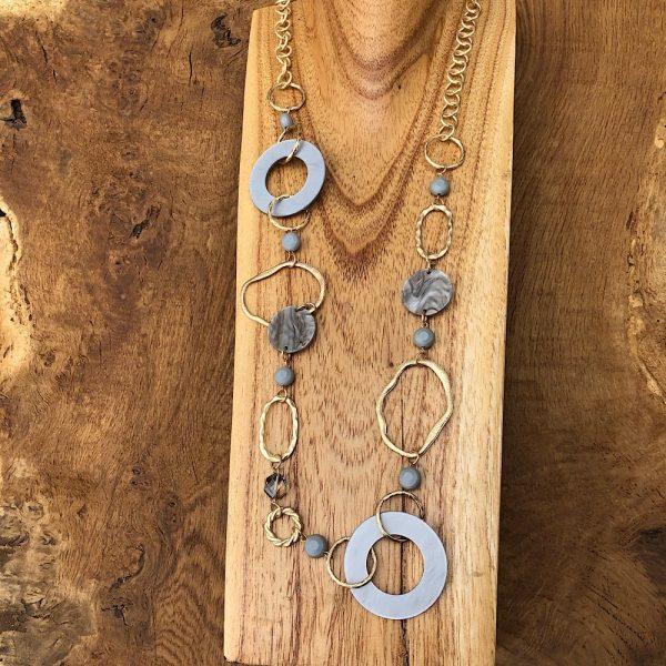 Grey and Gold Circles Long Necklace