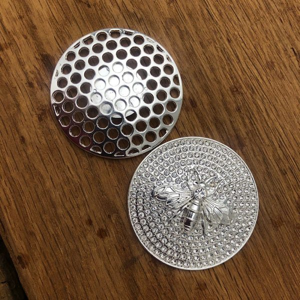 back and front of magnetic bee brooch