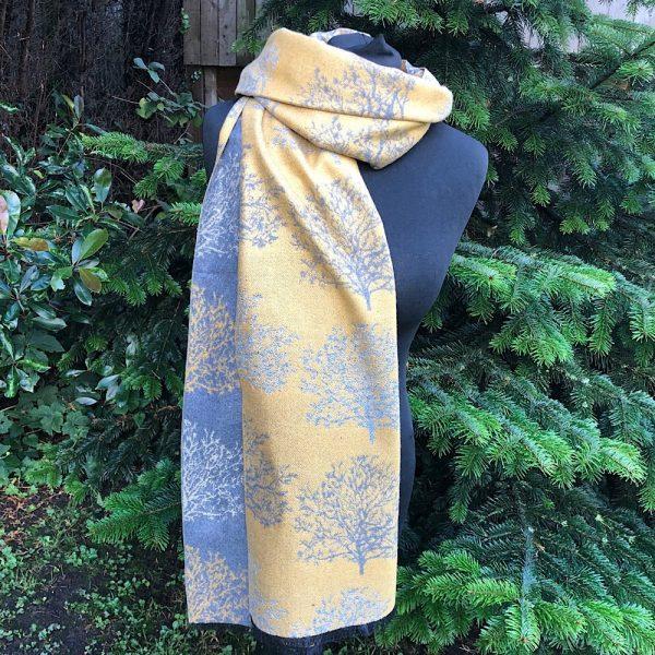 Silver/ Mustard Reversible Winter Trees Blanket Scarf/ Wrap