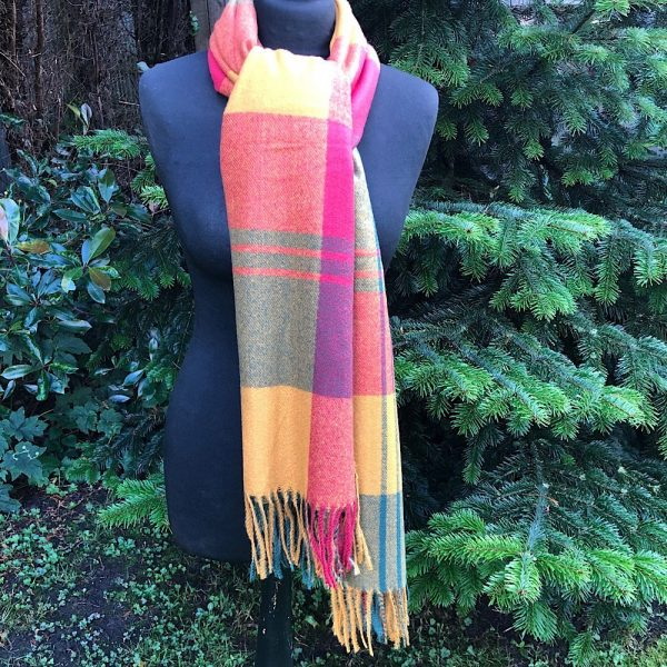 Autumn colours check tartan scarf