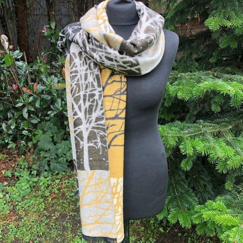 Reversible Winter Check Trees Blanket Scarf/ Wrap