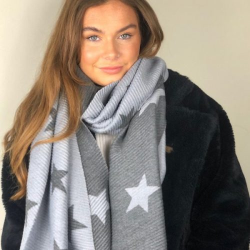 Light and Dark Grey Reversible Ribbed Star Scarf