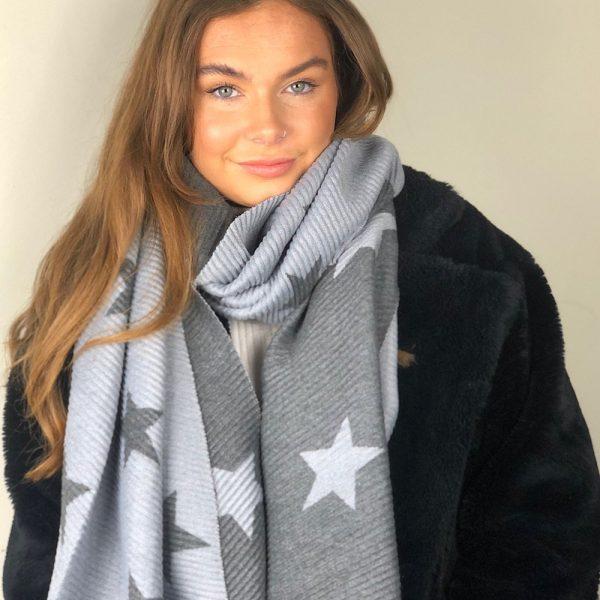 light and dark grey star scarf