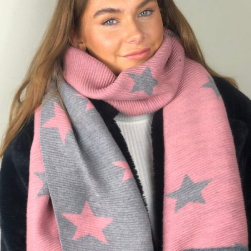 Pink & Grey Reversible Ribbed Star Scarf