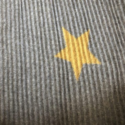 Mustard & Grey Reversible Ribbed Star Scarf
