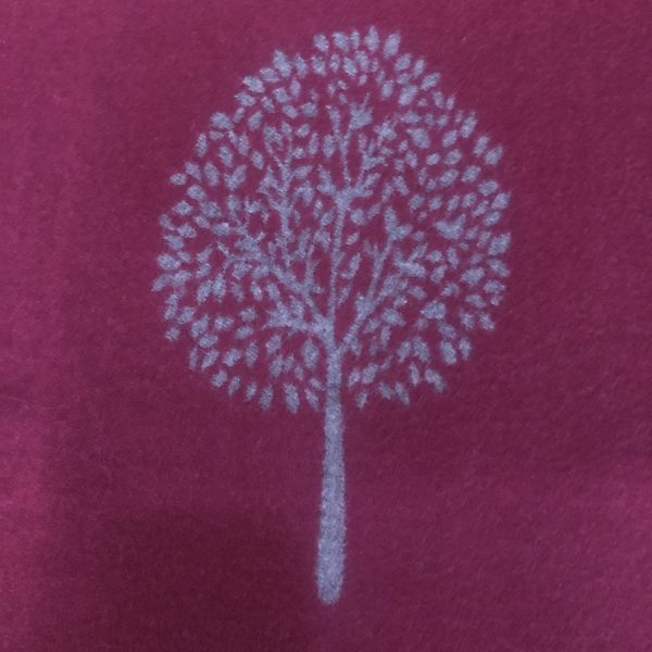 Wine side of scarf with mulberry pattern