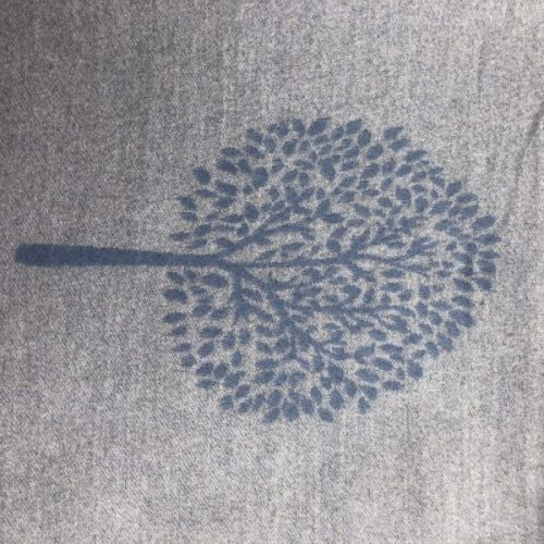 Blue and Grey Mulberry Tree of Life Cashmere Blend Reversible Scarf