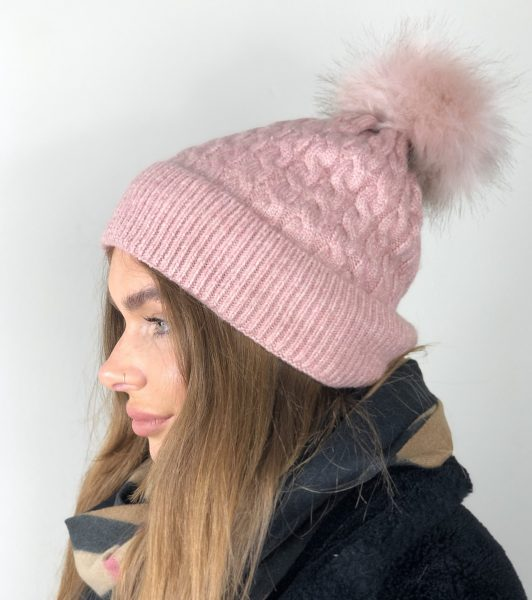 Baby Pink Fleece Lined Bobble Hat with Pink Faux Fur Pompom