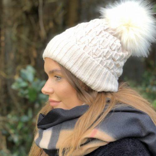 Cream Fleece Lined Bobble Hat with Cream Faux Fur Pompom