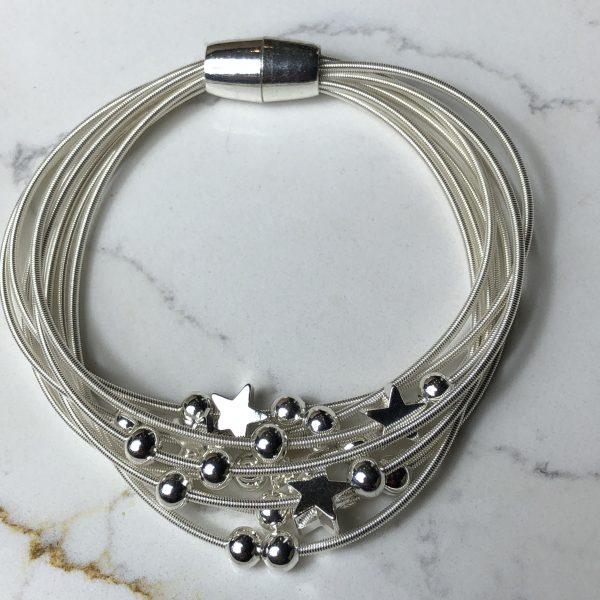 Silver multistrand stars magnetic bracelet