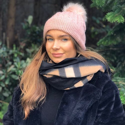 Pink Fleece Lined Bobble Hat with Pink Faux Fur Pompom