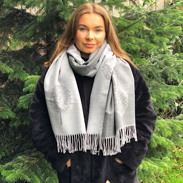 Grey and dark grey mulberry scarf