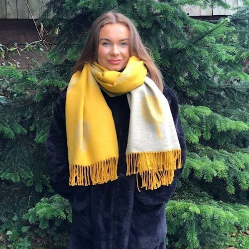 Mustard and Grey Mulberry Tree of Life Cashmere Blend Reversible Scarf