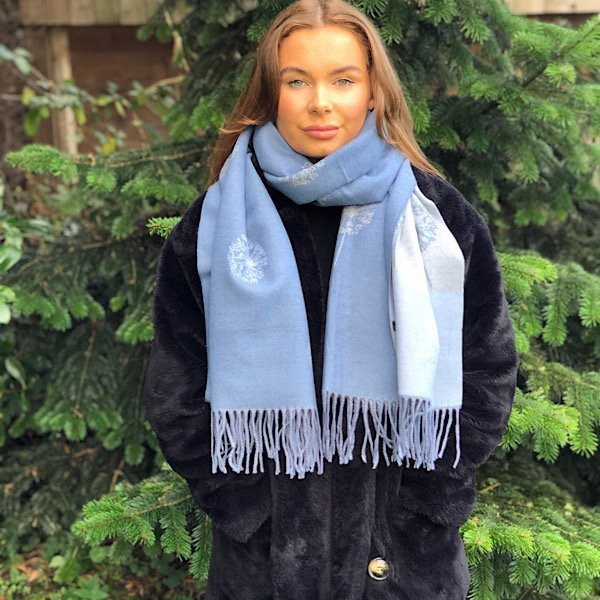 Blue grey mulberry scarf