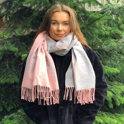 Pink and Grey Mulberry Tree of Life Cashmere Blend Reversible Scarf