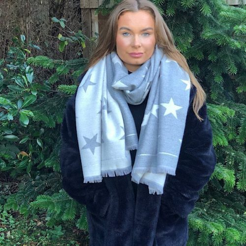 grey and white cashmere blendstar scarf