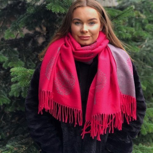Cerise and Grey Mulberry Tree of Life Cashmere Blend Reversible Scarf