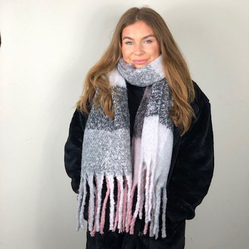 Big Grey White Pink Tassled Scarf